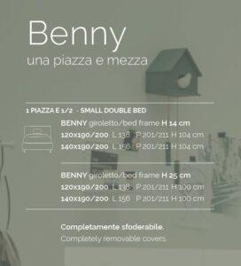 scheda tecnica letto ad una piazza e mezza Benny