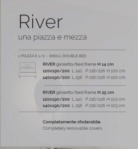 letto ad una piazza e mezza river v&nice scheda tecnica