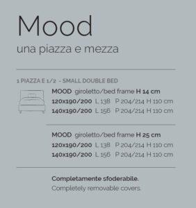 scheda tecnica letto ad una piazza e mezza V&Nice Mood