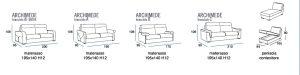 scheda tecnica divano letto Archimede